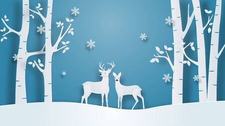 Winter landscape with deer couple and tree on winter field in paper cut style. Vector illustration design for backdrop, wallpaper, poster, greeting card.