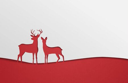 Creative illustration silhouette deer in paper cut style background. Design for backdrop, wallpaper, poster.
