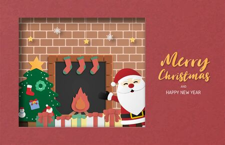 Christmas celebration greeting card in paper cut style. Vector illustration with Santa Claus. Design for backdrop, poster, banner, wallpaper. Çizim
