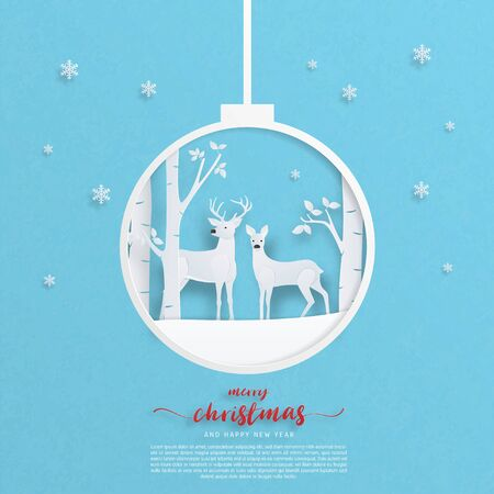 Digital craft made deer couple on snowfield with tree forest and falling snowflakes in paper cut style. Vector illustration. Design for poster, banner, backdrop, wallpaper. Stok Fotoğraf - 132309222