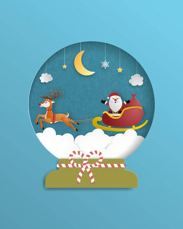 Christmas celebration poster in paper cut style. Paper art made Santa Claus and reindeer flying over the Cloudscape. Vector illustration design for wallpaper, poster, backdrop, brochure.
