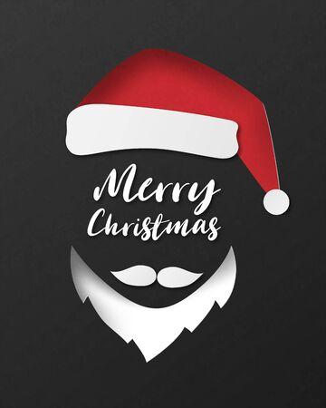 Christmas celebration poster in paper cut style. Vector illustration paper art. Çizim