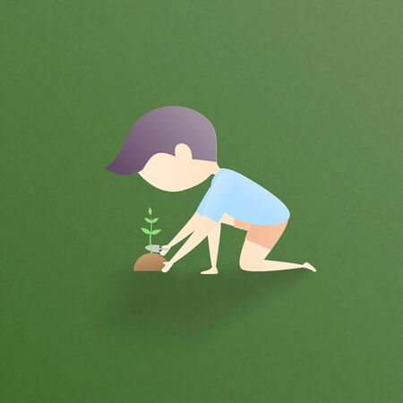 Nature and environmental conservation concept. A boy planting a tree on green background. Vector illustration for poster, wallpaper, backdrop, banner, presentation. Çizim