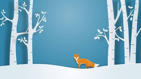 Winter landscape view background with lonely fox in paper cut style. Vector illustration with snow field and tree in forest. Design for poster, wallpaper, backdrop, banner, cover, template. Çizim