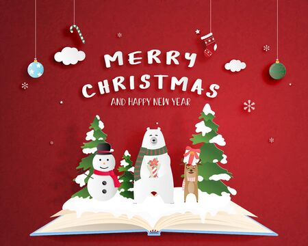 Christmas celebration poster in paper cut style. Digital craft paper art. Happy polar bear and deer and snowman on open book with red background and decoration.