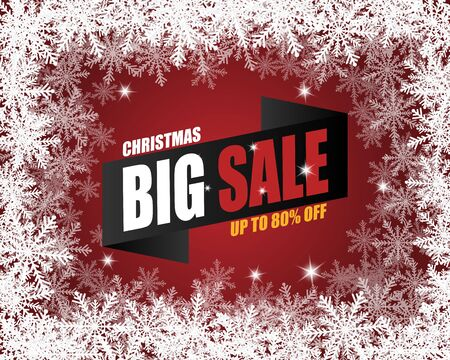 Christmas big sale banner in paper cut style. Vector illustration paper art. Stok Fotoğraf - 132803172