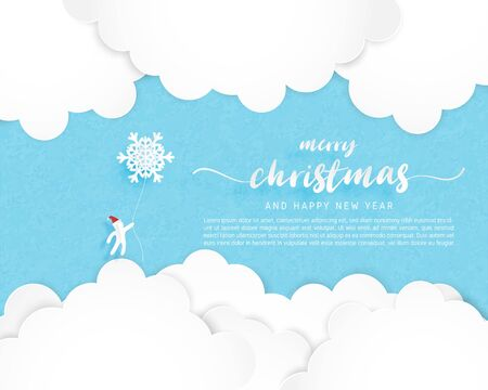 Christmas celebration poster in paper but style. Paper art made Santa Claus hanging snowflakes in the blue sky. Vector illustration. Çizim