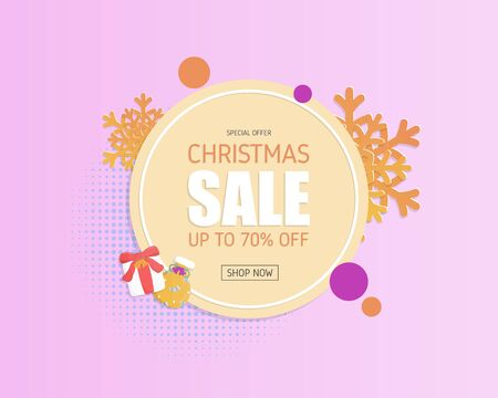 Modern Christmas sale banner in paper cut style. Banner, poster, advertising.