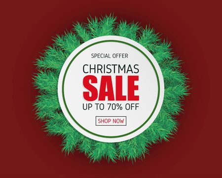 Christmas sale banner with fur on red background in paper cut style. Çizim