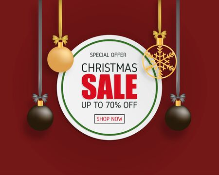 Christmas sale banner with decoration in paper cut style on red background.
