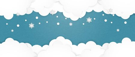 Cloud background in paper cut style with falling snowflakes.