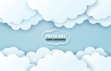 Cloud and sky background in paper cut style. Vector illustration digital craft paper art. Çizim