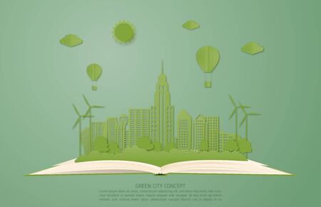 Ecology and environment conservation concept. Green city landscape on open book in paper cut style. Çizim