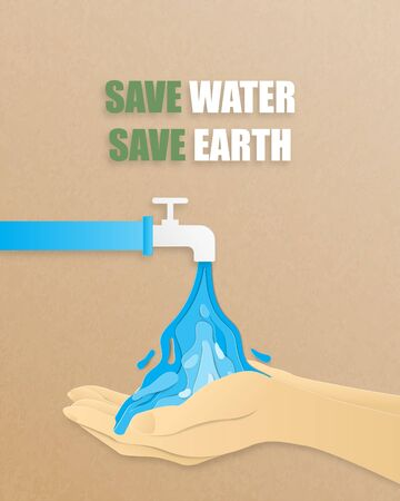 Save the water save the earth concept. Vector illustration water flowing out tube on a hand in paper cut style. Digital craft paper art. Çizim