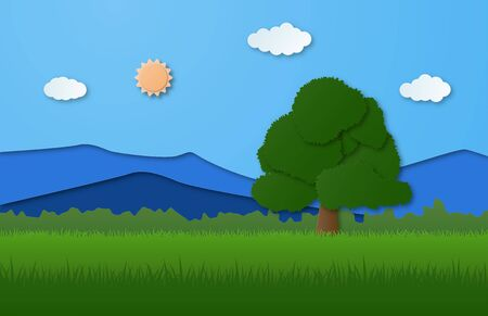 Nature landscape with mountain, forest and big tree on grass filed in paper cut style. Vector illustration digital craft paper art.