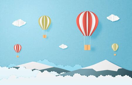 Love to travel concept. Origami made hot air balloon flying over mountain and clouds in the sky background. Vector illustration paper cut style. banner, poster, invitation card. Illusztráció