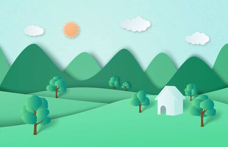 Green nature forest and mountain landscape with cottage in paper cut style.
