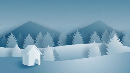 Winter landscape with mountain, forest and cottage on snow filed in paper cut style. Vector illustration digital craft paper art. Çizim