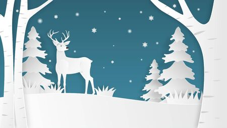 Paper art made deer in the forest on blue background. Digital craft paper cut style. Çizim