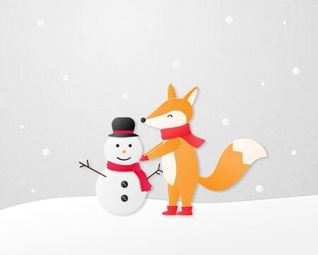 Paper art concept. A happy fox build a snowman on snow field in paper cut style.