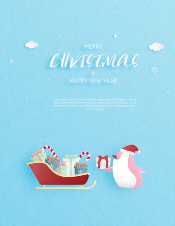 Christmas celebration invitation card in paper cut style. Happy penguin and gift box. Çizim
