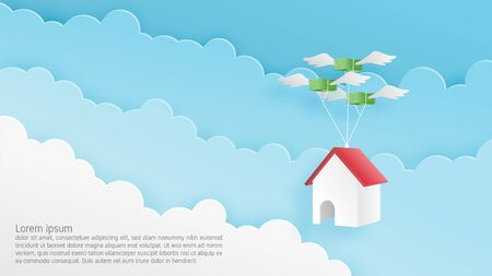 Paper craft origami made home hanging on flying money in the sky. Vector art and illustration business and fiance concept. Design for backdrop, banner, poster, advertising display, real estate.