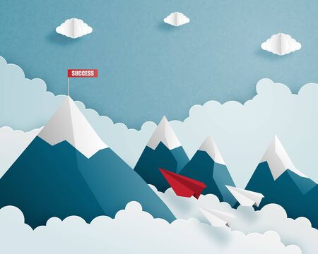 Business leadership and teamwork concepts. Paper airplane in paper cut style red and white teamwork flying to red success flag on top of mountain. Vector illustration. Çizim