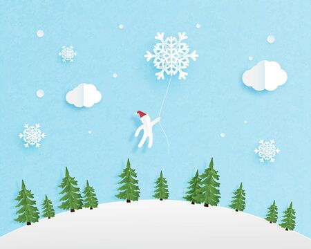 Christmas celebration background with mini Santa Claus in the sky. Digital craft paper cut style. Çizim