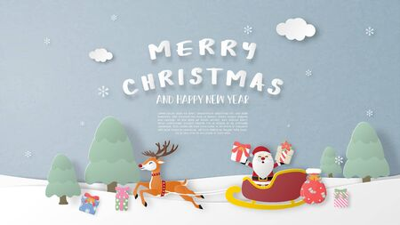 Christmas celebration background. Santa Claus and reindeer in paper cut style. Digital craft paper art.