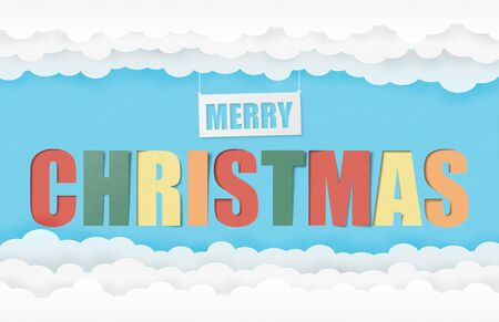 Merry Christmas text Calligraphy with cloud and sky in paper cut style.