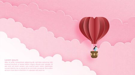 Valentines day concept. Love couple in hot air balloon floating in cloud and sky in paper cut style. Vector illustration of love. Poster, banner, template, backdrop, wallpaper, invitation card.