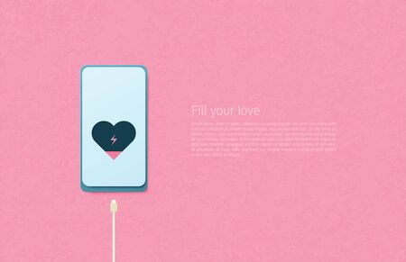 Illustration of love Paper art concept. Cable charging heart in cell phone on pink background. Digital craft paper cut style.