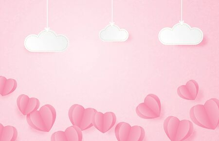 Valentines day banner with heart shape floating on pink background and hanging clouds in paper cut style. Digital craft paper art concept.