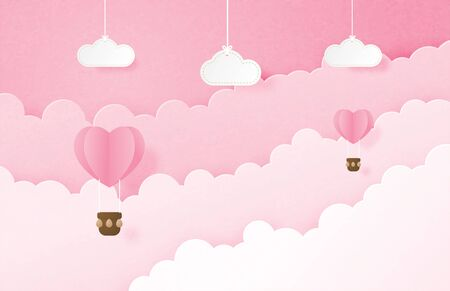 Valentines day banner with heart shape hot air balloon floating in the sky and hanging clouds in paper cut style. Digital craft paper art concept. Çizim