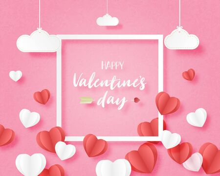 Valentines day banner with heart shape floating on pink background and hanging clouds  with frame in paper cut style. Digital craft paper art concept.
