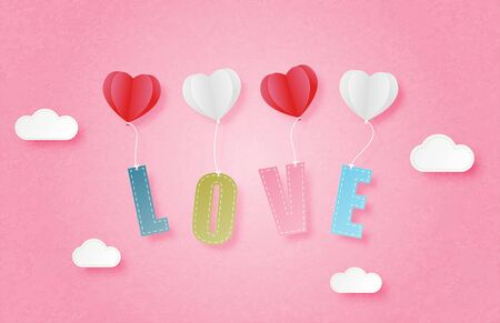 Happy valentines day banner in paper cut style. Digital craft paper art concept.