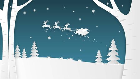Christmas celebration banner with silhouette Santa Claus and reindeer in paper cut style. Digital craft paper art.