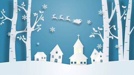 Christmas celebration banner in paper cut style. Digital craft paper art.