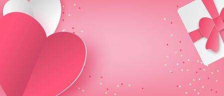 Illustration of love banner in paper cut style. Digital craft paper art Valentines day concept.