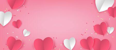Illustration of love banner in paper cut style. Digital craft paper art Valentine's day concept. Standard-Bild - 134629047