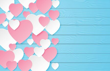 Illustration of love valentines day banner with heart shape on blue wooden table in paper cut style. Digital craft paper art.