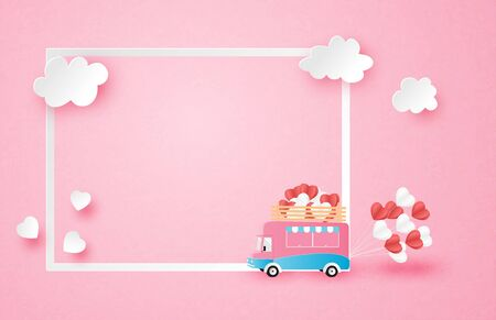 Illustration of love valentines day advertisement poster with van and frame in paper cut style. Digital craft paper art.