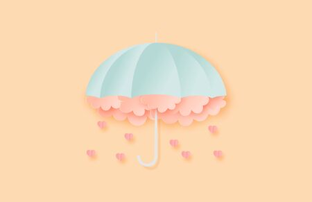 Illustration of love. Umbrella with clouds and falling heart in paper cut style. Digital craft paper art Valentines day concept.