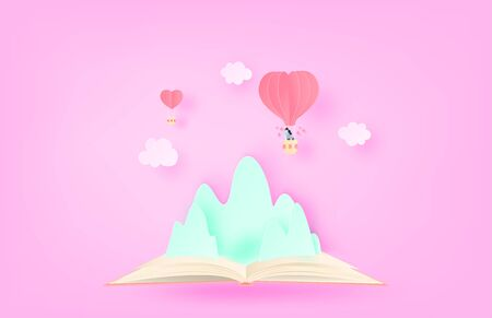 Illustration of love. Heart shape hot air balloon Floating over mountain on open book in paper cut style. Digital craft paper art.