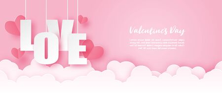 Illustration of love valentines day banner with hanging LOVE in paper cut style. Digital craft paper art. Çizim