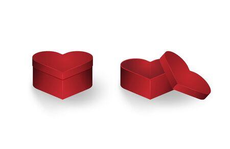 Closed and opened heart shape gift box isolated on white background. Vector illustration. Çizim