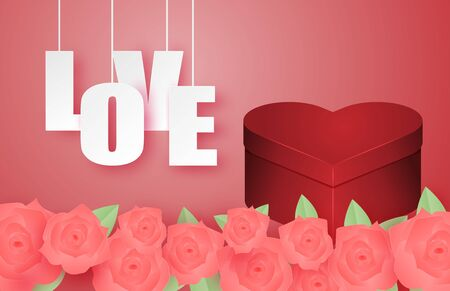 Valentines day banner with heart shape gift box and rose in paper cut style. Digital craft paper art valentines day concept.