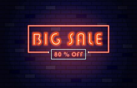 Sale banner template neon light style. Big sale 80% off. Special offer season. 2020 color of the year. Çizim