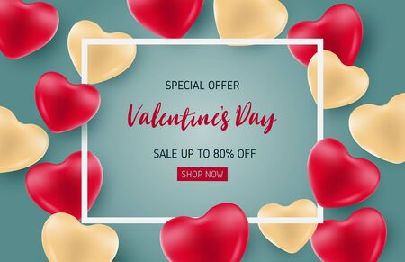 Valentines sale banner template with heart shape balloon. Special offer up to 80% off. Çizim