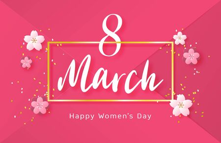 Happy women day background with flower in paper cut style. Vector illustration digital craft paper art. wallpaper, backdrop, banner, advertising display.